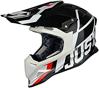 Just 1 Unisex-Adult Off Road Carbon Fiber Shell Motorcross Motorcycle Helmet (J12 Unit) (Gloss Trans Black White, Medium)