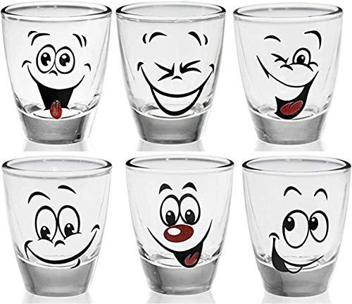 Juego de 6 vasos de chupito con caras divertidas, 2,5 cl, vasos de tequila, copas de vodka, carnaval, vasos de chupito, vasos de cristal