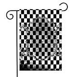 Anmbsk Garden Flag Yard Decorations Torn Retro Black White Checkered Abstract Stain Mesh Rally Blank Old Champion Championship Check Outdoor Small Polyester Flag Double Sided 12' x 18'