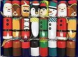 Crackers Ltd – Juego de 8 personajes festivos de Navidad, reno, cascanueces, muñeco de nieve, elfo, Papá Noel y pingüino