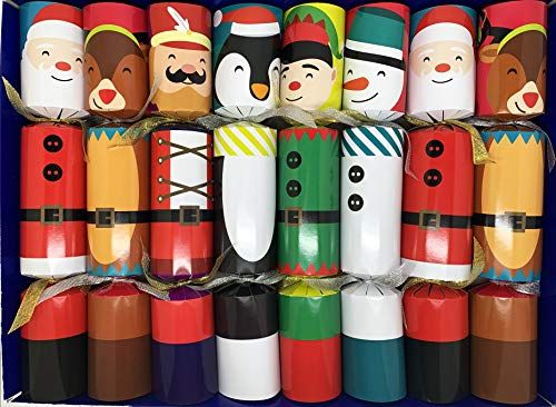 Crackers Ltd Set mit 8 weihnachtlichen Figuren zum Befüllen – Rentier, Nussknacker, Schneemann, Elf, Weihnachtsmann und Pinguin