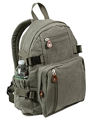 Rothco Vintage Canvas Compact Backpack, Olive Drab
