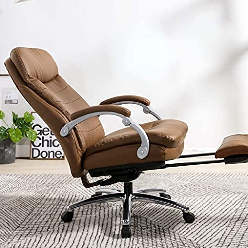 HZYDD Chair Reclining Boss Chair Executive Chair,Ergonomic Office Computer Chair,Home Study Swivel Chair (Color:Brown)