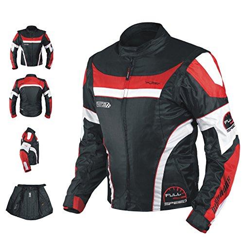 A-pro Blouson Oxford Nylon Homme Textile CE Protections Thermique Moto rouge XL