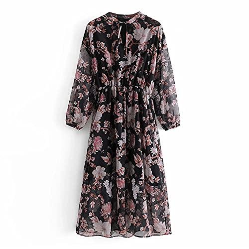 SHENSHI Women Dresses,Elegant Floral Print Vintage Elastic Waist Bow Tie Midi Dresses,Print,Small