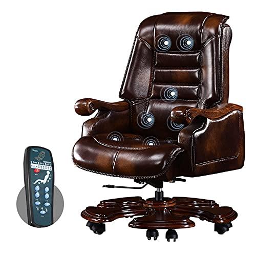 Silla de oficina, silla de jefe de madera maciza, escritorio y silla giratorios para computadora, sillón, elevable, ergonómico, con pedal/A / 116 / 122cm