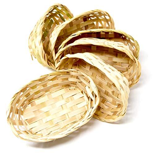 Lashuma 6 Stück Geschenkkörbchen, Leere Osterkörbchen im Korbset, Ovale Füllkörbe 18 x 13 cm Tiefe 6 cm, Beige Bambuskörbe