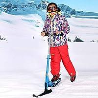 スノースレッジ子供用スクーター、2-in-1キックスタントスクーター(スノースキーアタッチメント)キッズスレッドフォールドスケートボード冬の屋外スノースクータースレッドファン