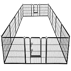 Giantex 16/8 Panel Pet Playpen with Door, Foldable Dog Exercise Pen, Portable Configurable Cat Chicken Rabbit Fence Outdoor Outdoor, Metal Pet Exercise Fence Barrier Kennel