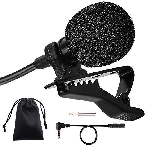 PEMOTech Microfono per Smartphone, Mini Microfono Clip, Microfono a Condensatore Lavalier Risvolto Omnidirezionale 3.5mm con 2 Adattatore per Android, iPhone, PC e Line-in Registratore