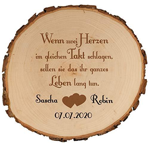 Geschenke 24 Baumscheibe mit Druck zur Hochzeit 15,5 cm mit Hochzeitsmotiv – mit Namen + Datum personalisiert – Hochzeitsgeschenke für Brautpaar