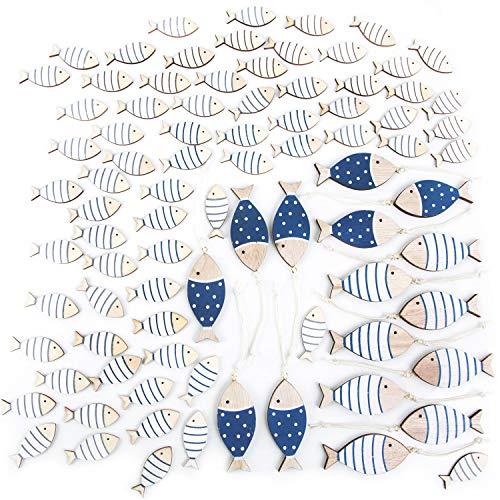 Logbuch-Verlag 70 minipeces decorativos de 4 cm + 16 peces colgantes de 7 cm, color azul y blanco natural, decoración marítima para esparcir en bautizos, comuniones y álbumes de recortes