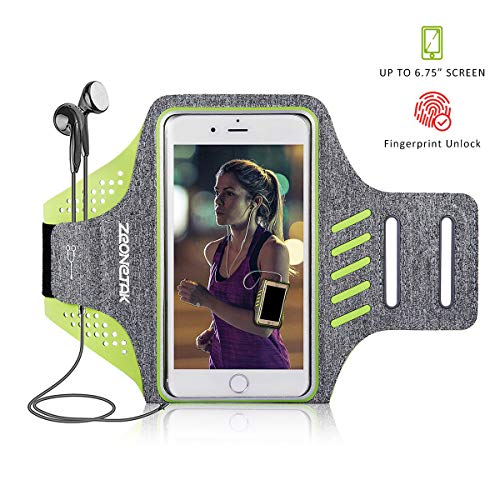 Zeonetak Brazalete Deportivo Impermeable, Transpirable y Ajustable con Velcro para iPhone 8 Plus, iPhone X, iPhone 7S Plus, iPhone 6 Plus, Galaxy S8 Plus, Samsung S5, S6, S7 y la mayoría de teléfonos