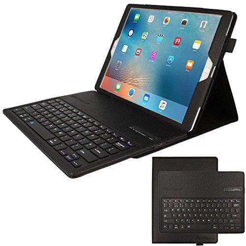 TECHGEAR STRIKE FOLIO Keyboard Case fits Apple iPad Pro 12.9' (2017 / 2nd Gen & 2015 / 1st Gen) - PU Leather Case with Built in Detachable Bluetooth Wireless UK QWERTY Keyboard and Stand (Black)