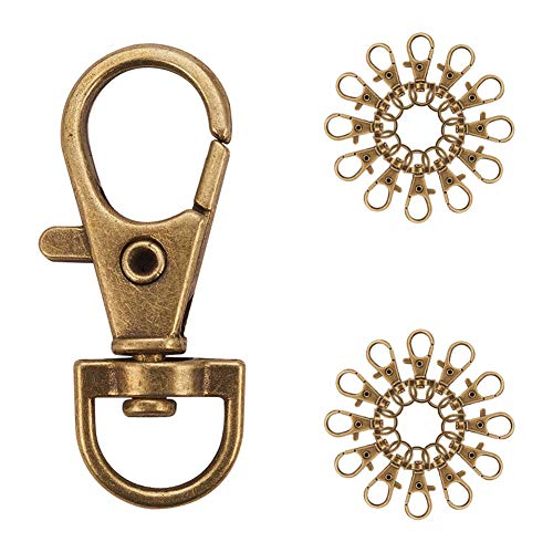 PandaHall Elite 50 Pieces Metal Lobster Claw Clasps Swivel LanyardsTrigger Snap Hooks Strap 35x13mm for Keychain, Key Rings, DIY Bags and Jewelry Findings Antique Bronze