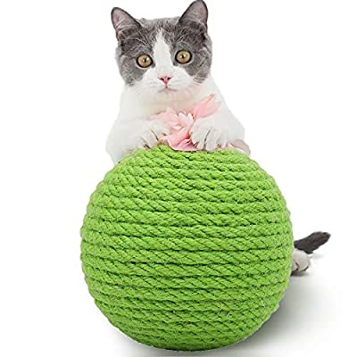 PowerKing Cat Scratching Ball, Sisal Cactus Kitten Cat Toy With Bell Ball-Eco-Friendly Natural Pets Toy Interactive Toy Bite and Wear Durable Resistant