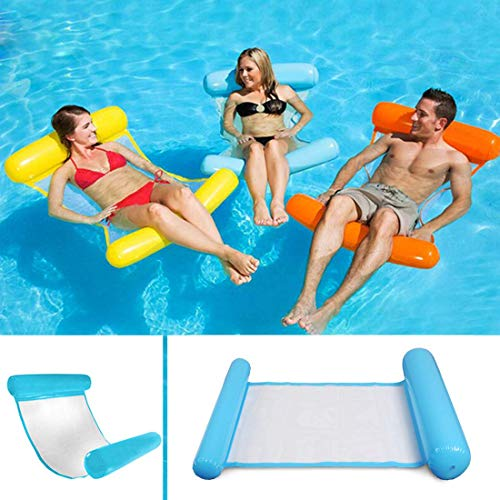 Sinwind Water Hammock, Swimming Pool Beach Floating Recliner Inflatable Water Hammock Floating Bed Lounge Chair Drifter Swimming Pool Beach Float for Adult (blue)