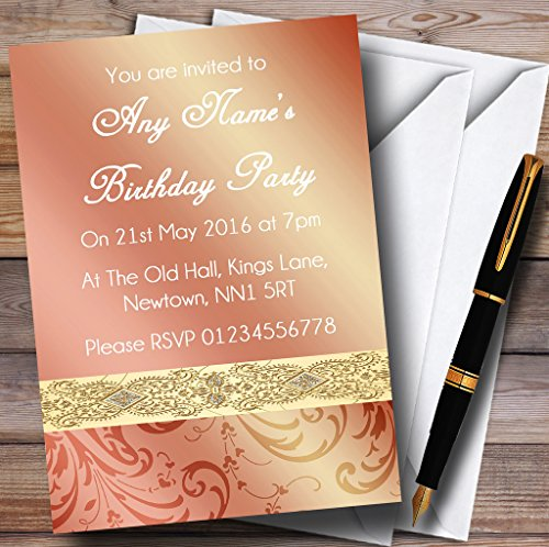 Peach Coral Damask Birthday Party Personalized Invitations