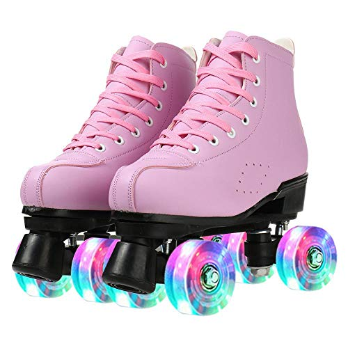 KYIS Womens Roller Skates Hightop Shiny PU Leather Rubber Classic Roller Artistic for Outdoor...