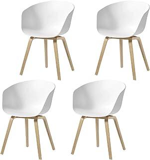 Pack de 4 Sillón Blanca Silla de Comedor Silla EscandinavaPata Madera de Haya Estilo Nórdico - Blanco