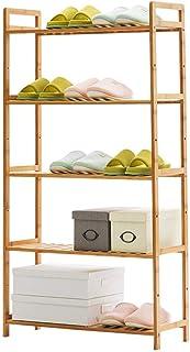 5 rangées de supports de rangement en rack pour chaussures en bambou naturel, 10 ~ 15 paires de chaussures, idéales pour l...