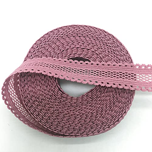 PENGHAO 5/8' 15mm Lilac Bilateral Lace Mesh Folded Elastic Spandex Lace Ribbon, 5 Yards/Batch,5 Yards