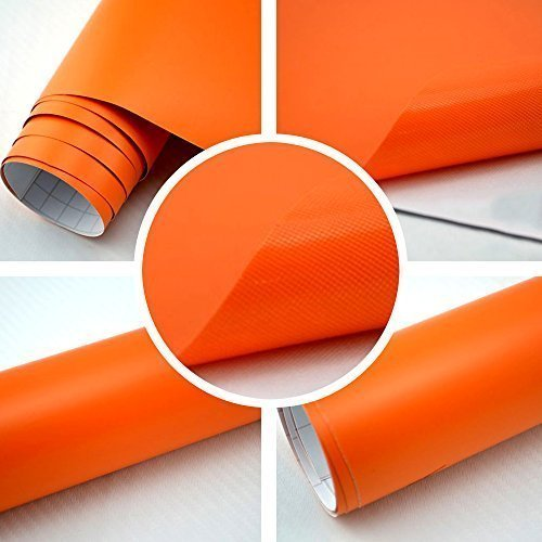 TipTopCarbon 6,57€/m² Autofolie Matt Orange 2m x 1,52m Auto Folie BLASENFREI mit Luftkanälen 3D Flex