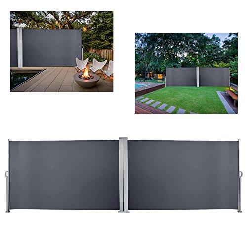 Hengda Doppelseitenmarkise ausziehbar -180 x 600 cm Anthrazit Seitenmarkise TÜV,geprüft UV,Reißfestigkeit,seitlicher Sichtschutz sichtschutz,für Balkon Terrasse ausziehbare markise