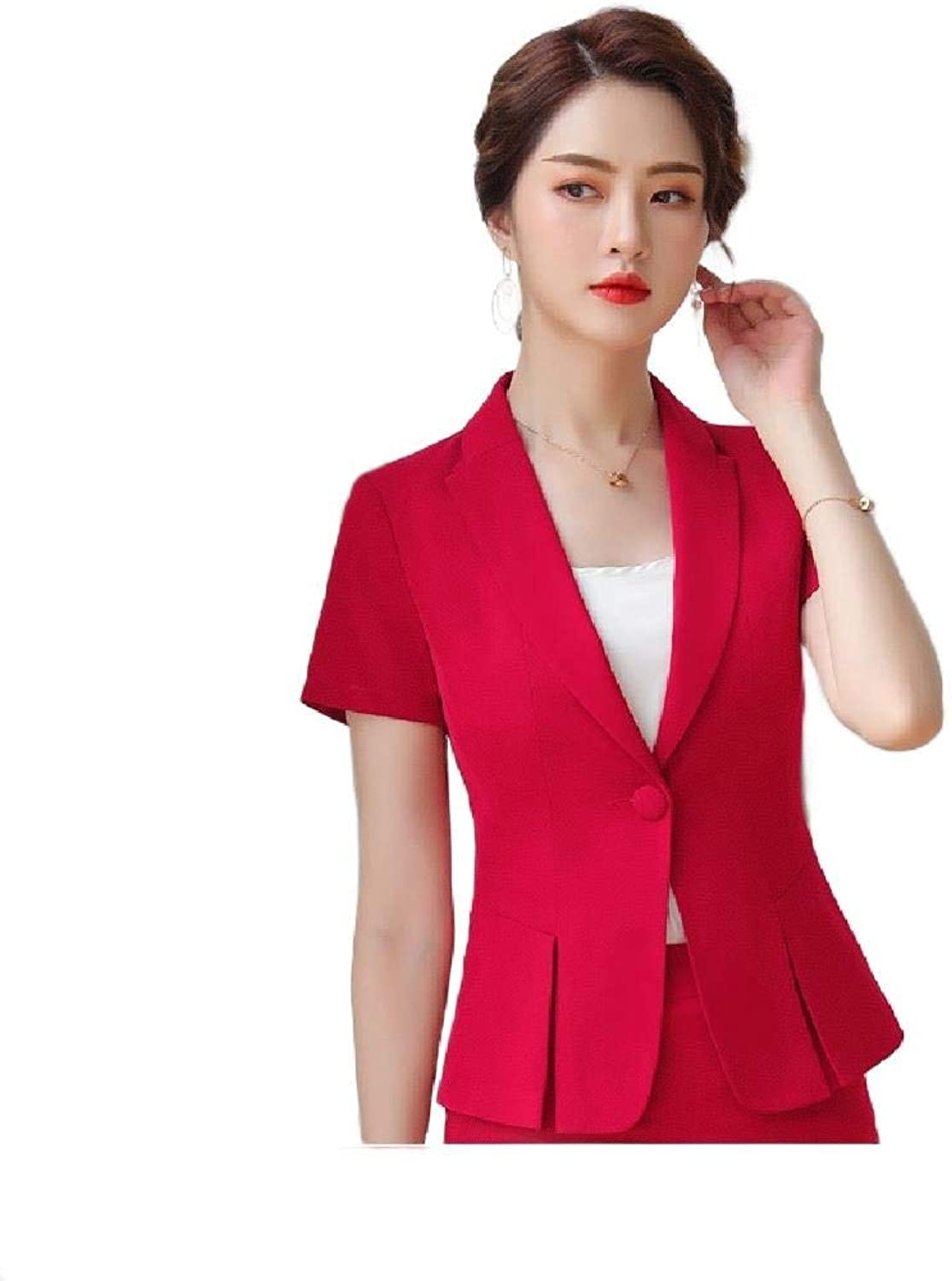 Cobama Womens Elegant Work Office Work Solid 1 Button Blazer Suit Jacket