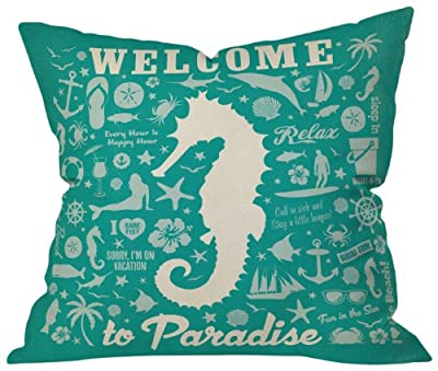 DENY Designs Anderson Design Group Seahorse Throw Pillow, 18 by 18 Inch
