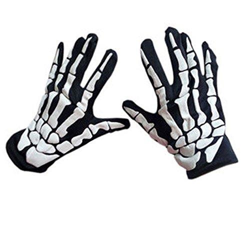 1 Pares de Guantes de Esqueleto Blanco Negro de Halloween Accesorios de Disfraces Huesos Fantasma para Halloween Guantes de Disfraces