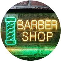 Barber Pole Shop Hair Cut Dual Color LED看板 ネオンプレート サイン 標識 緑色 + 黄色 600 x 400mm st6s64-i0005-gy