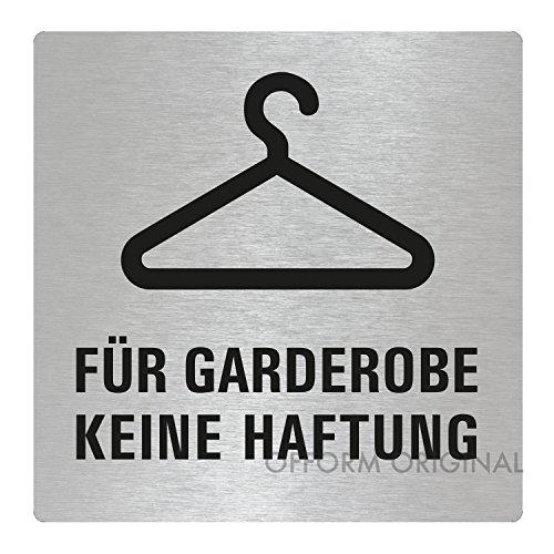 OFFORM Türschild l Hinweisschild l Edelstahlschild Für Garderobe Keine Haftung l 85x85 mm l Nr.48217