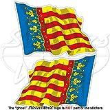 VALENCIANISCHE GEMEINSCHAFT Wehende Flagge, Fahne SPANIEN Valencia, Valencianische Gemeinschaft Spanisch 120mm Auto & Motorrad Aufkleber, x2 Vinyl Stickers (Links - Rechts)