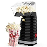 #LightningDeal Hot Air Popcorn Maker Machine, Popcorn Popper for Home, ETL Certified, BPA-Free, No Oil, Healthy Snack for Kids Adults, Removable Measuring Cup, Perfect for Party Birthday Gift, Black-1200W