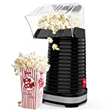 Hot Air Popcorn Maker Machine, Popcorn Popper for Home, ETL Certified, BPA-Free, No Oil, Healthy Snack for Kids Adults, Removable Measuring Cup, Perfect for Party Birthday Gift, Black-1200W