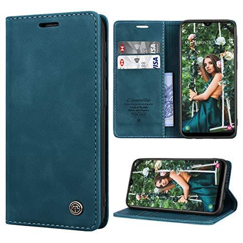 RuiPower Kompatibel für Samsung Galaxy A20E Hülle Premium Leder PU Handyhülle Flip Hülle Wallet Lederhülle Klapphülle Klappbar Silikon Bumper Schutzhülle für Samsung A20E Tasche - Blaugrün