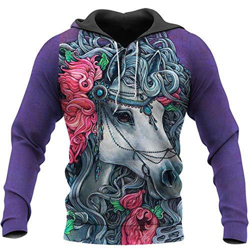 LMSPRINTSJ Pferd 3D Full Print Herren Damen Hoodie Sweatshirt Zipper Jacke Casual Top im Herbst Gr. Small, beige