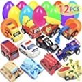 Easter Eggs Easter Basket Stuffers Filled 12 Pack Eggs with Pull Back Construction Vehicles and Race Cars Inside, Colorful Pre Easter Egg Stuffers For Kids Easter Toys Easter Basket Gifts Fillers