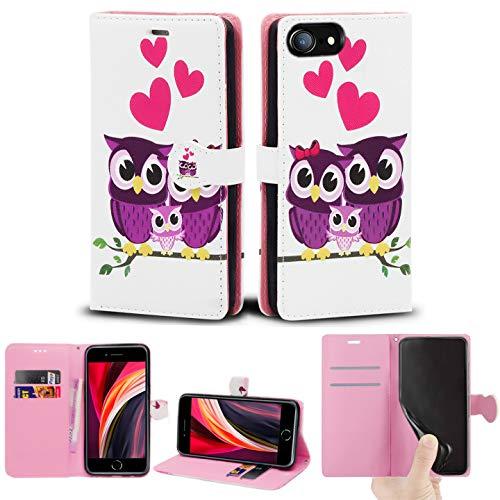 Schutzhülle für iPhone SE 2020, Slim PU Leder Flip Protective Magnetic Wallet Cover mit Kartenhalter & Standfunktion Kompatibel mit Apple iPhone SE 2020 (4,7 Zoll) (Familie Eule)