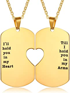 PJ Stainless Steel I'll Hold You in My Heart Puzzle Piece Heart Matching Couple Dog Tag Necklace