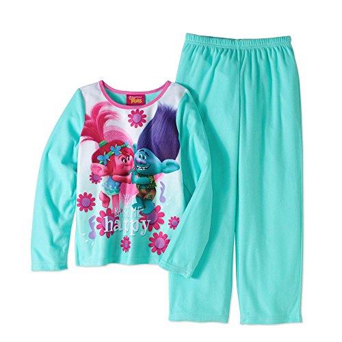 Trolls Girls Poppy & Branch 2pc Fleece Pajamas You Make Me Happy (6/6X)
