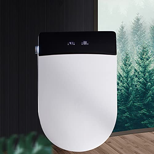 Elongated One Piece Smart Small Toilet With Luxury Electronic Bidet Toilet Seat, Unlimited Warm Water, Air Dryer, Heated Seat, Ambient Nightlight, Integrated Multi-Function Remote Control
