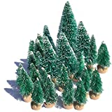 Mini Snow Globe Christmas Trees Tabletop Fake Bottle Brush Decor Craft Christmas Village Flocked Pine Trees with Base Assorted Size Party Decoration DIY Accessories Up to 4-7/8'' 24PCS Green
