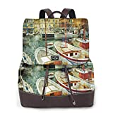 Women's Leather Backpack,Naples Small Boats At Historical Italian Coast with Heritage Castle...