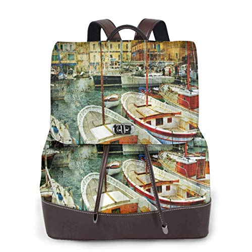 Women's Leather Backpack,Naples Small Boats At Historical Italian Coast with Heritage Castle Nautical Artwork,School Travel Girls Ladies Rucksack