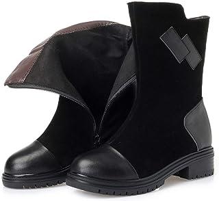 レディースブーツ、ニューウィンターレザーブーツ厚手のアンクルブーツヨーロッパアメリカニューマーティンブーツ (色 : ブラック, サイズ : 35)