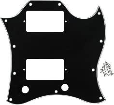 FLEOR 3Ply Black Guitar Scratch Plate Full Face SG Pickguard with Screws Fit SG Standard Guitar Pickguard Replacement