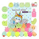POKONBOY Mochi Squishy Toys Glow in The Dark for Easter Party Favors Squishies Easter- 30 Pack Mini Kawaii Cute Animal Squishies Stress Relief Squishy Animals Mochi Cat Squishy with Gift Box