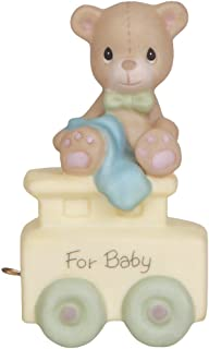 Precious Moments, May Your Birthday Be Warm, Birthday Train Baby, Bisque Porcelain Figurine, 142020